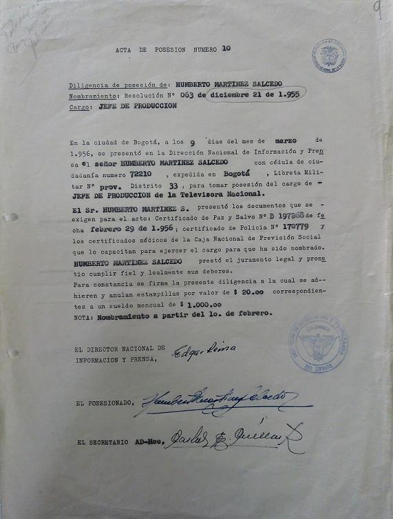 Nombramiento de Humberto Martínez Salcedo como Director de Producción de la Televisora Nacional