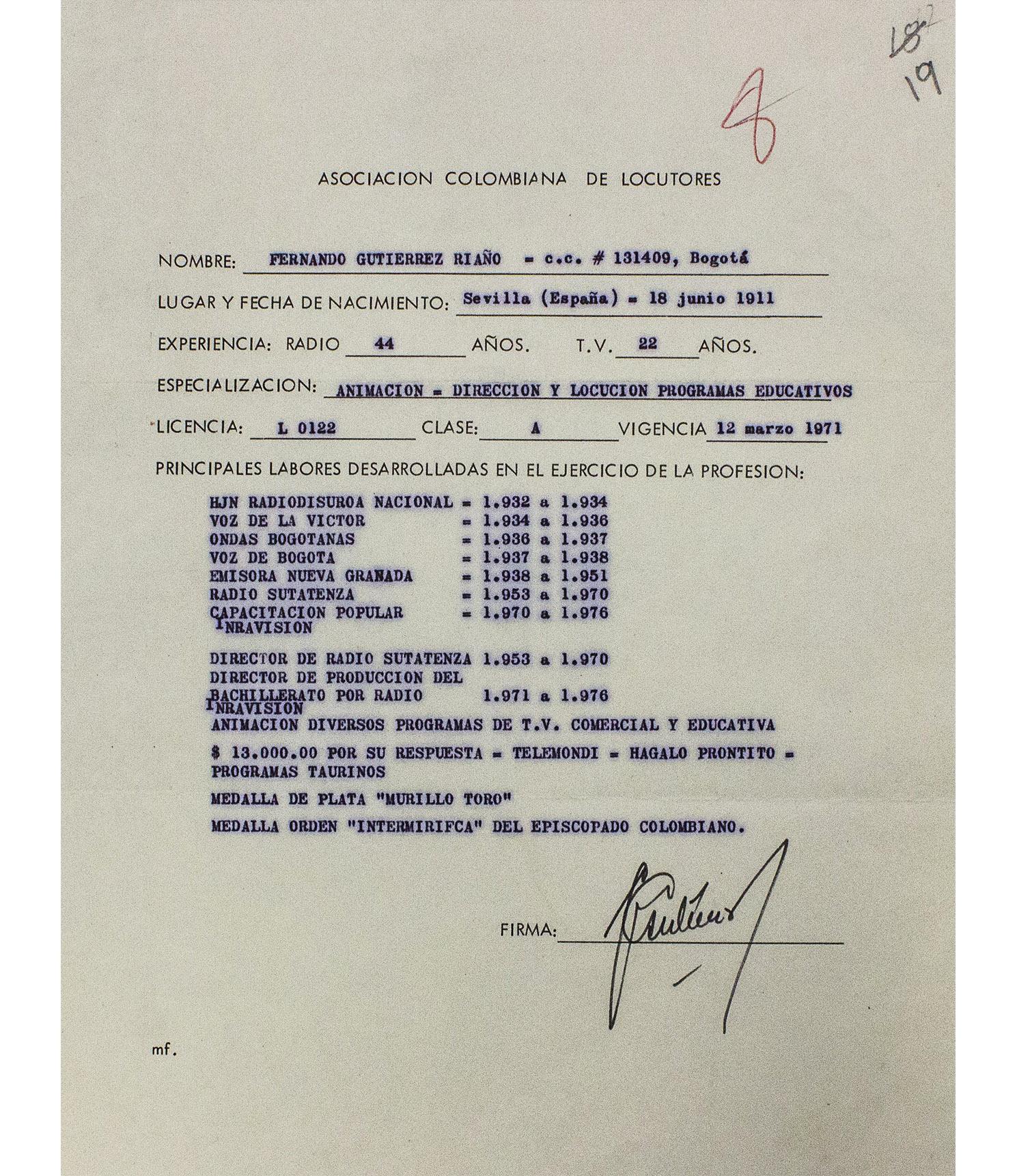 Soporte de Licencia de Locutor de Fernando Gutiérrez Riaño.