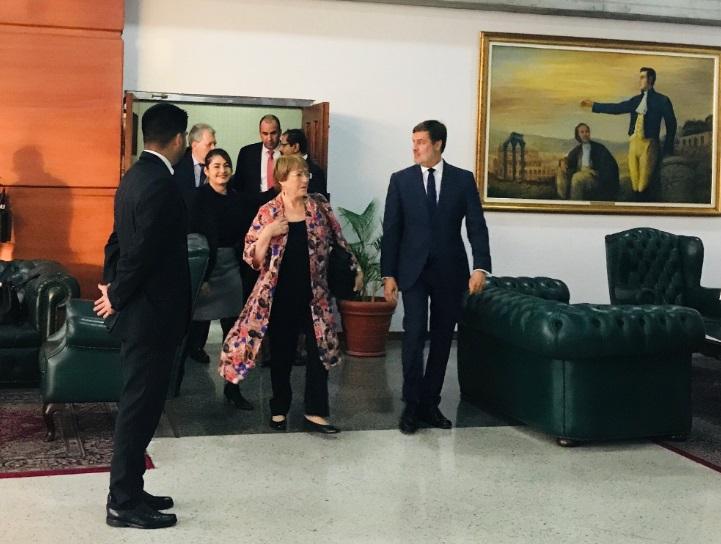 Alta consejera de la ONU para los Derechos Humanos, Michelle Bachelet, en su visita a Venezuela. Foto: Twitter Michelle Bachelet.
