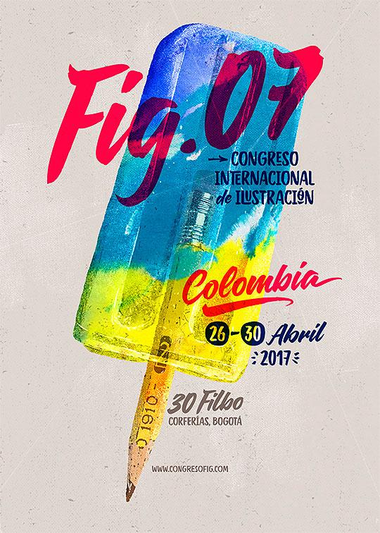 Imagen afiche oficial del Festival Internacional de Ilustración en el marco de la FILBo 2017.