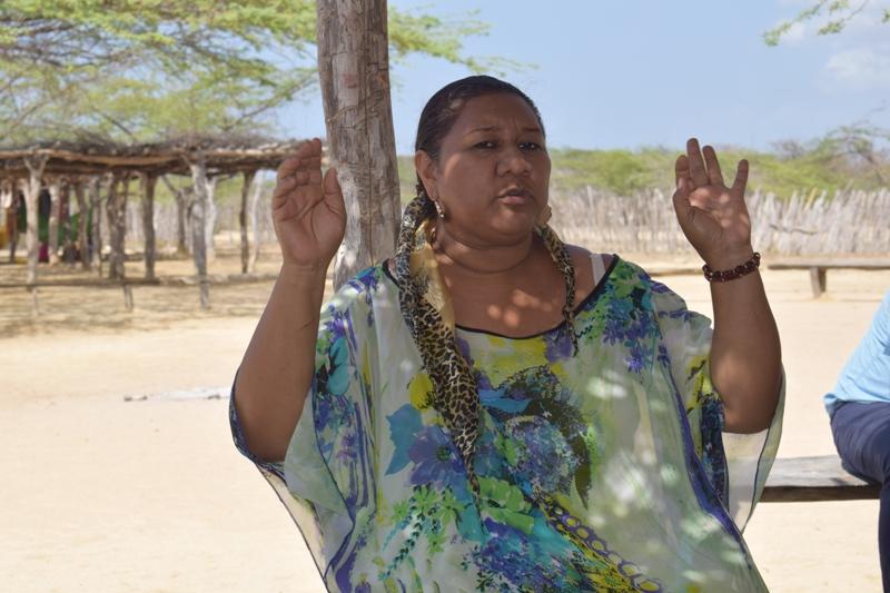 Graciela Cotes, líder de la ranchería wayuu del clan Arpushana.  Foto: Miguel Ángel Cortés.