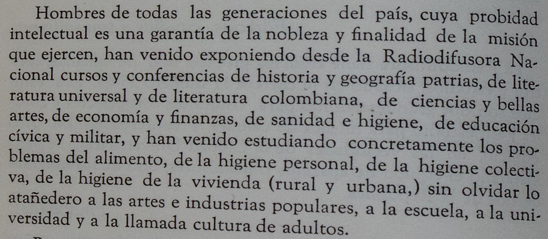 Extracto del Informe del Ministerio de Educación, 1940