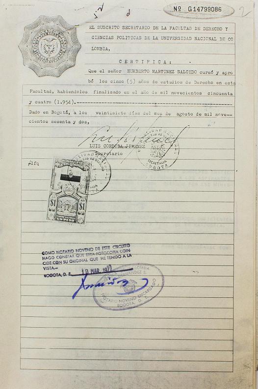 Documento que se anexa al trámite de licencia: certificado de estudios en derecho de la Universidad Nacional. Culminados en 1954.