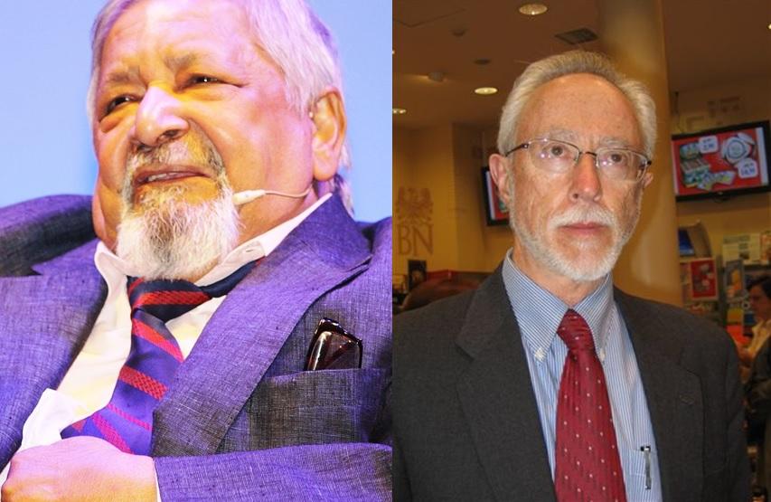Los premios Nobel de Literatura Vidiadhar Surajprasad Naipaul y John Maxwell Coetzee. Foto: CC Wkikipedia.