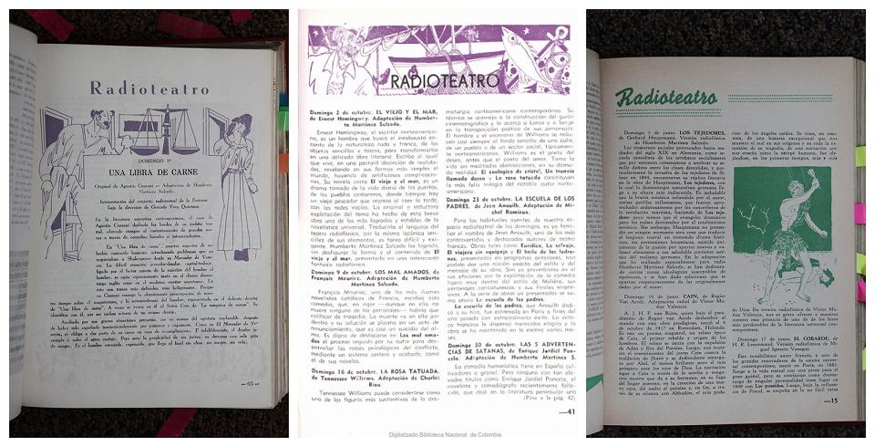 Boletín de programas. Páginas que anuncian obras de radioteatro dirigidas o adaptadas por Humberto Martinez Salcedo.