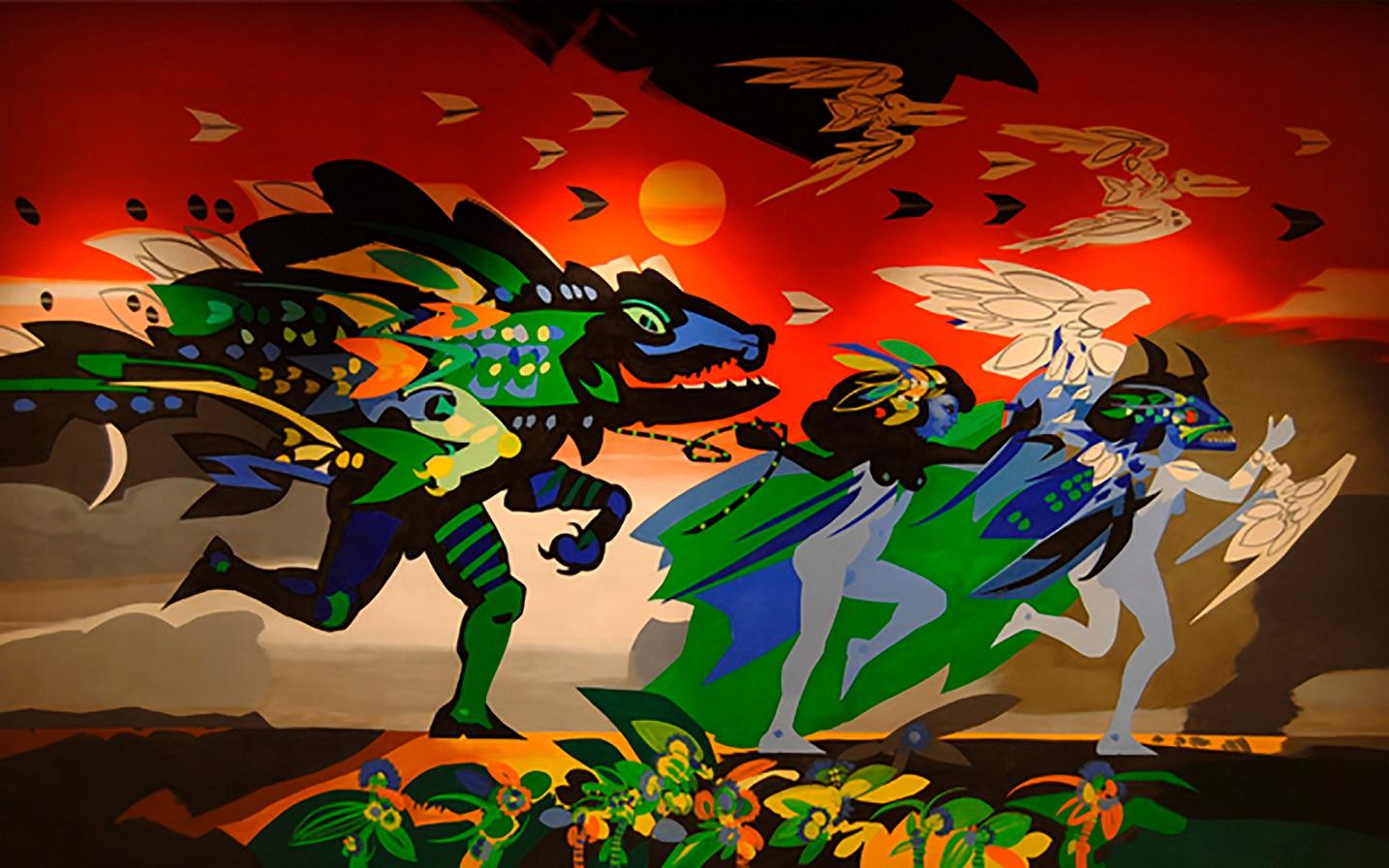 Telón de boca del Teatro Amira de la Rosa de Barranquilla. Obra 'Se va el caiman', de Alejandro obregon. Foto: Katherine Castillo Rolong - Banco de la República