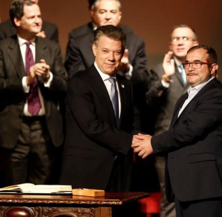 Acto de firma del acuerdo final de paz. Foto: Colprensa