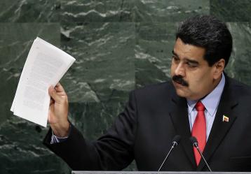 El presidente de Venezuela, Nicolás Maduro, pronuncia su discurso durante el debate general de la 69 Asamblea General de la ONU. / Foto: EFE/JASON SZENES