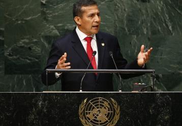 El presidente peruano, Ollanta Humala durante la Asamblea General de las Naciones Unidas en su sede de Nueva York, Estados Unidos./ Foto: EFE/Andrew Gombert
