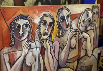 """Detalle de la obra """"Mujeres"""", de Geoffrey Mukasa, una de las obras de 51 artistas de África Oriental que han sido vendidas por unos 200.000 dólares en la segunda edición de la única subasta de arte africano contemporáneo que se celebra en Kenia. Foto: EFE/Alicia Alamillos"""