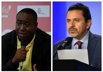 Leyner Palacios (Foto: Comisión de la Verdad) y Miguel Ceballos, alto comisionado para la Paz.