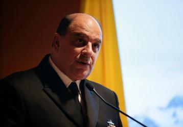 El fallecido almirante Leonardo Santamaría, comanadante de la Armada Nacional. Foto: Colpresa. Mayo 2017.