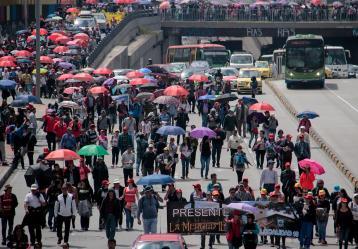 Marchas del paro de maestros en Bogotá. Foto: Colprensa