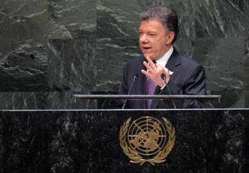 El Presidente Juan Manuel Santos en su intervención ante la ONU