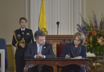 Presidente Juan Manuel Santos y Ministra de Comercio, Cecilia Álvarez // Foto: Presidencia de la República