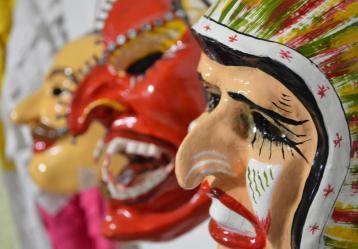 Máscaras utilizadas por los 'matachines' en los carnavales y fiestas. Foto: Andrés Gélvez.