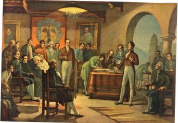 Firma del acta de independencia. Óleo de Coroliano Leudo.