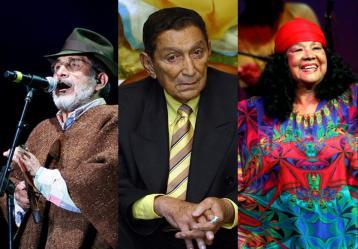 Jorge Velosa, Rafael Escalona, Totó la Momposina y Lucho Bermúbez, grandes figuras de los sonidos colombianos. Fotos: Colprensa. Junio 2017.