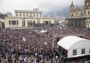 La gran concentración en Bogotá será en la Plaza de Bolívar. Foto: Archivo Colprensa.