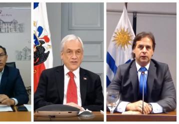 Presidentes de Perú, Chile y Uruguay.