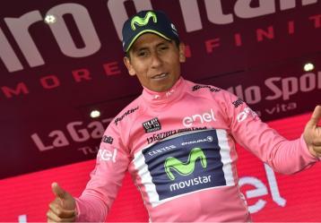 El ciclista boyacense Nairo Quintana recuperó el liderato en el Giro de Italia tras la etapa 19. Foto: Colprensa. Mayo 2017.
