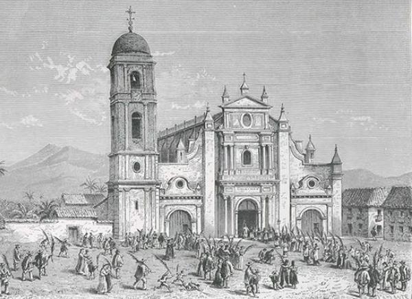 Iglesia de San Pedro, Catedral de Cali, Libro 'Geografía pintoresca de Colombia', Barclay. Charles Saffray, 1833-1890. Biblioteca Nacional.
