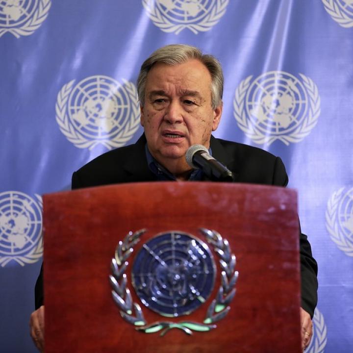 El secretario general de la ONU, Antonio Guterres en rueda de prensa en Bogotá. Foto: Colprensa. Abril 2018.