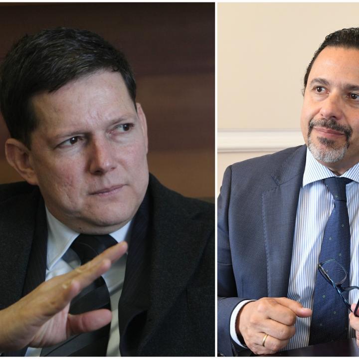 Ministro de Justicia, Wilson Ruiz, y Alto Comisionado para la Paz, Miguel Ceballos. Foto: Colprensa