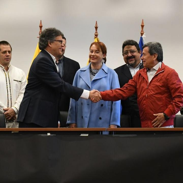 Instalación formal del quinto ciclo de las negociaciones de paz entre el Gobierno y el Eln en Ecuador. Foto: Colprensa. Marzo 2018.