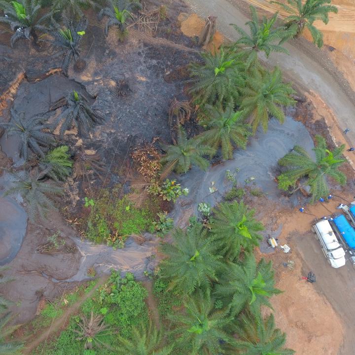 El afloramiento de crudo inició el 2 de marzo del 2018 y cesó hasta el 31, 29 días donde emanaron 550 barrilles de petróleo y cantidades incalculables de lodo, agua y gas. Foto: Cortesía Funperpaz (Daniel Carrasquilla - Edgar Osma)