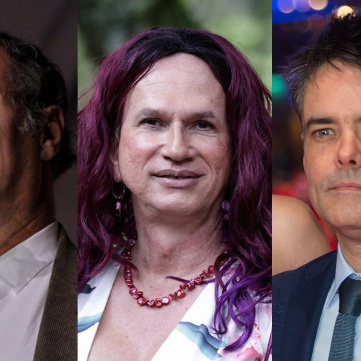De izquierda a derecha: Víctor Gaviria, Brigitte Baptiste (fotos: Colprensa) y Sebastián Leilo (crédito foto: Martin Kraft, Sebastián Lelio (Berlinale 2017) (cropped), CC BY-SA 3.0.