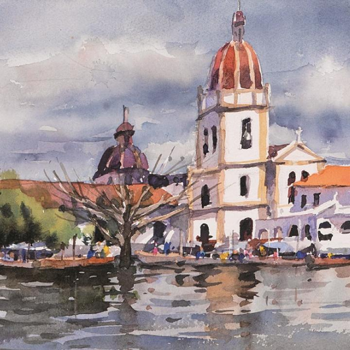 Paisaje de Mompox (Bolívar) junto al río Magdalena. Obra de Song Xinru. Foto: Colprensa
