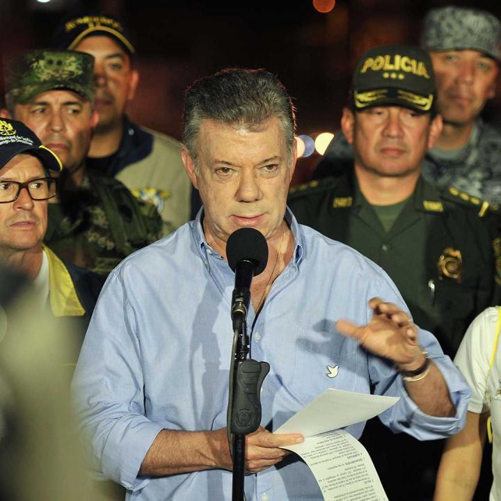 Presidente Santos en su visita a Mocoa. Foto: Presidencia de la República.